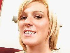 Blonde Euroslut strokes and teases her body