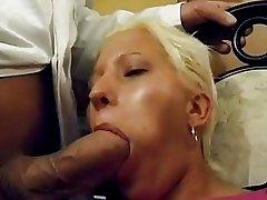 German blonde sucks champagne off her doctors cock
