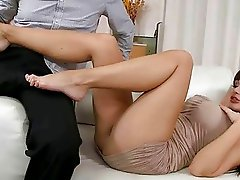Aletta Ocean giving footjob and riding cock