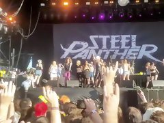 Steel Panther Rock Show Topless Girls in a Row