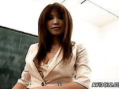 Sexy Asian teacher strips to turn on a student
