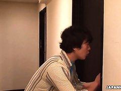 Quite buxom Japanese lady Hina Maeda fingerfucks her wet pussy