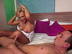 Sexually active granny orgasms strongly in a roughly served throbbing by some adrenalized stud