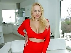Mouth watering blonde Angel Wicky rides a dick and stimulates her clit