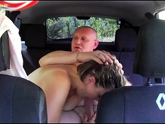 Horny Russian couple enjoying intense sex action in the car