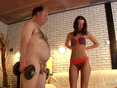 Skinny chick Leyla wants to make her hairy man's cock stiff