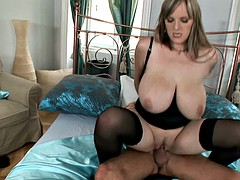 Sexy blonde chick with saggy tits gets her tits creamed