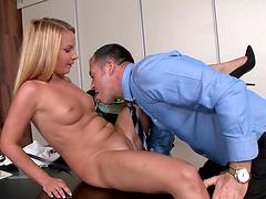 Leggy blonde secretary Christine Love gets seduced by her boss