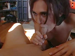 Small tits brunette delights a thorough bonking from behind with a mammoth tool