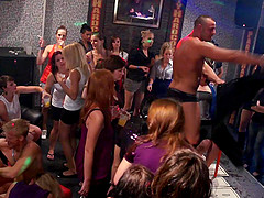 Horny male strippers feed dick to drunk club whores