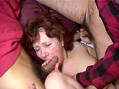 In a foursome she gets triple fucked and smacked with cum