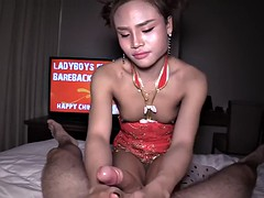 chinese new year pov fuck with a pretty asian ladyboy