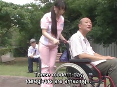 Subtitled weird Chinese half bare caregiver outdoors