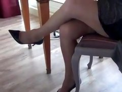Madam accepted to be filmed while she DANGLES in Stockings