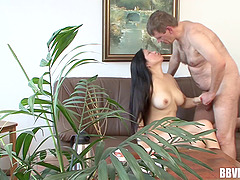Lewd brunette vixen gets her pussy licked then throbbed on the sofa