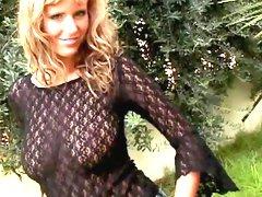 Horny blonde Zuzana Drabinova is showing off her boobies