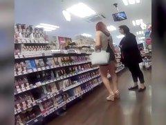 Redhead woman in black shorts