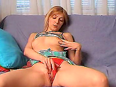 High-heeled blonde with a slim body enjoying a fabulous vibrator fuck