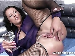 Messy piss play with hot girl in fishnet stockings