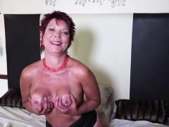 Kinky redhead mature masturbates