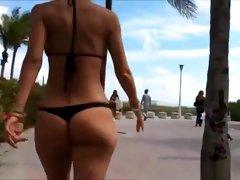 Sexy ass chick in black bikini