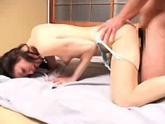 Lustful Japanese wife with tiny boobs is in need of a hard