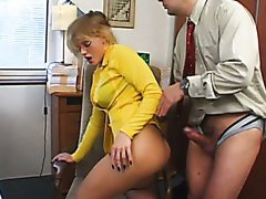 Blonde slut in glasses Lea De Mae ass fucked in the office