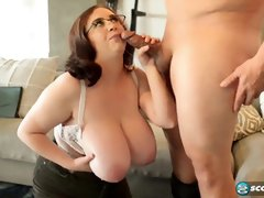 Chubby babe, Milly Marks is offering her massive tits to a handsome guy, along with her pussy