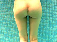 Damn good underwater solo show performed by slender amateur cutie