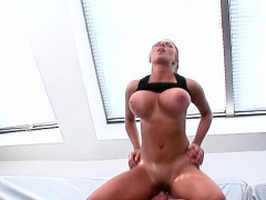 Honey gets out her big tits and gets them squeezed hard