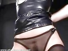 Gagged and bound sexy slave girl's ass is punished severely