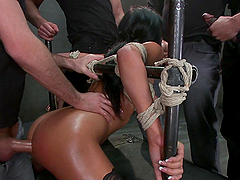 Wild BDSM Banging by Gang in Crazy Prison for Busty Brunette MILF
