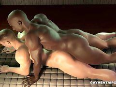 Buff 3D hunk sucks cock and gets fucked by an ebony stud