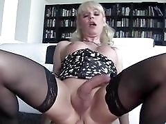 POV with mature blonde tranny Joanna Jet and big dick