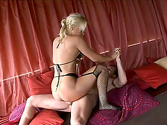 Beautiful blonde girl rides the dick like no one else can!