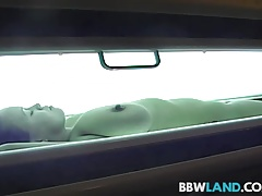 Sexy Pornstar Gets Nude in Tanning Booth