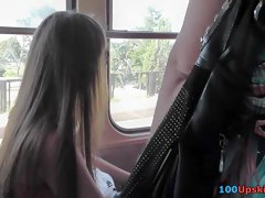 Bus upskirt vid with lengthy-haired babe