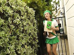 Adorable slender young chick in girlscout uniform loves rimjob