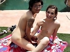 Teen in Glasses Seduces Her Friend by the Pool