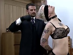 filthy slut with tattoos and short hair gets pounded hard