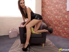 Sex-starved British hooker Tina Kay plays with a huge dildo toy