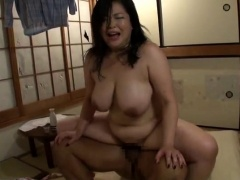 Lustful Japanese wife with big tits orgasms on a hard dick