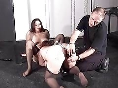 Two BBW lesbians are punished and humiliated by chubby dom