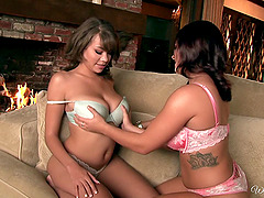 Horny ladies Cassidy and Keisha in naughty pussy licking in lesbian adventure