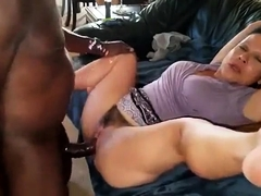 Horny brunette wife has a black guy pounding her juicy holes