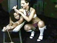 Young lesbian mistress punishing her slavegirl hard and rough BDSM