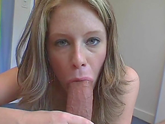 Sexy blonde shows off her booty before sucking a big cock