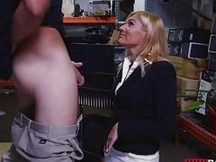Hot blonde milf screwed in storage room