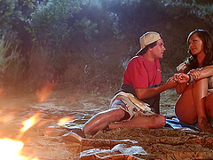 Hottest brunette in the world getting penetrated by the campfire