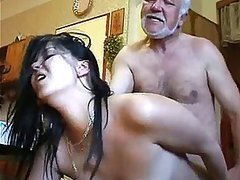 Stunning Brunette Babe Gets Fucked and Jizzed On Against Her Will By Old Man